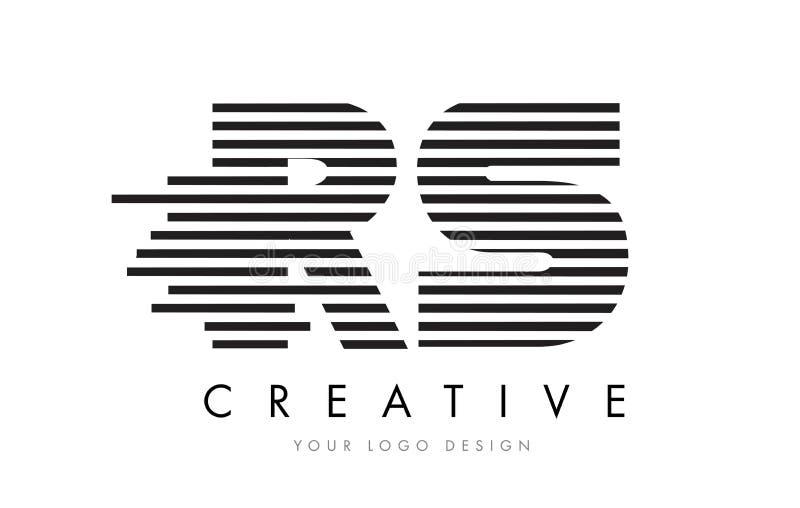 RS R S Zebra Letter Logo Design with Black and White Stripes vector illustration