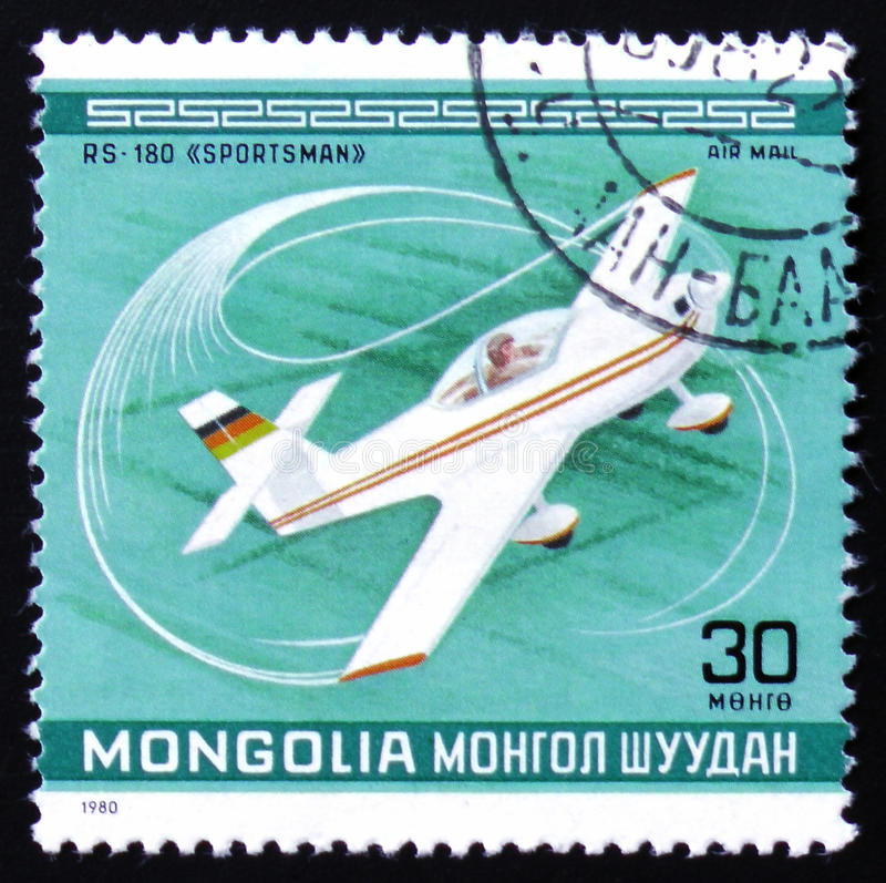 RS-180 Sportsman Plane. MOSCOW, RUSSIA - FEBRUARY 12, 2017: A Stamp printed in Mongolia shows the RS-180 Sportsman Plane, from the series `10th World Aerobatic stock photography