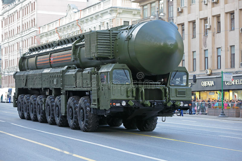 The RS-24 Yars intercontinental ballistic missile. MOSCOW, RUSSIA - MAY 05, 2016: Rehearsal celebration of the 71th anniversary of the Victory Day (WWII) royalty free stock image