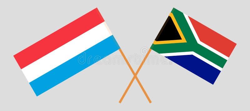 RSA en Luxemburg De Zuidafrikaanse en Luxemburgse vlaggen Offici?le kleuren Correct aandeel Vector vector illustratie