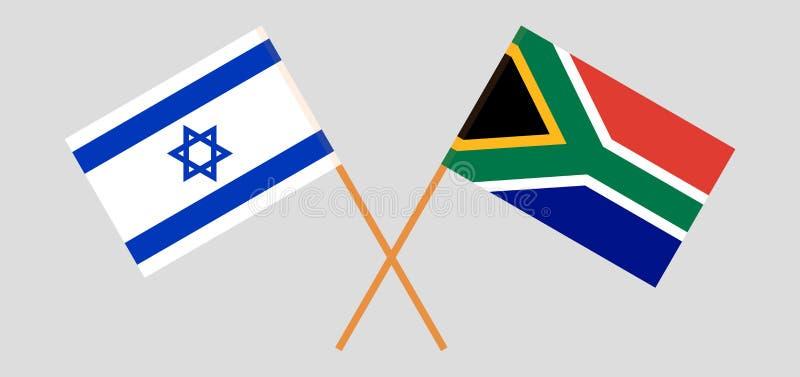 RSA i Izrael Po?udnie - afrykanin i izraelita flagi Oficjalni kolory Poprawna proporcja wektor ilustracji