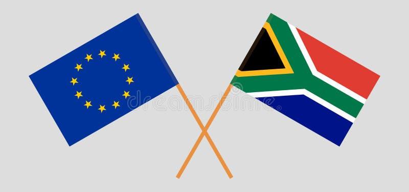 RSA i UE Po?udnie - afrykanin i europejczyk flagi Oficjalni kolory Poprawna proporcja wektor ilustracja wektor