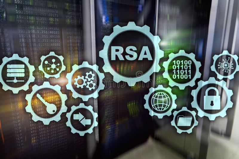RSA Rivest Shamir Adleman cryptosystem Kryptografi- och nätverkssäkerhet stock illustrationer