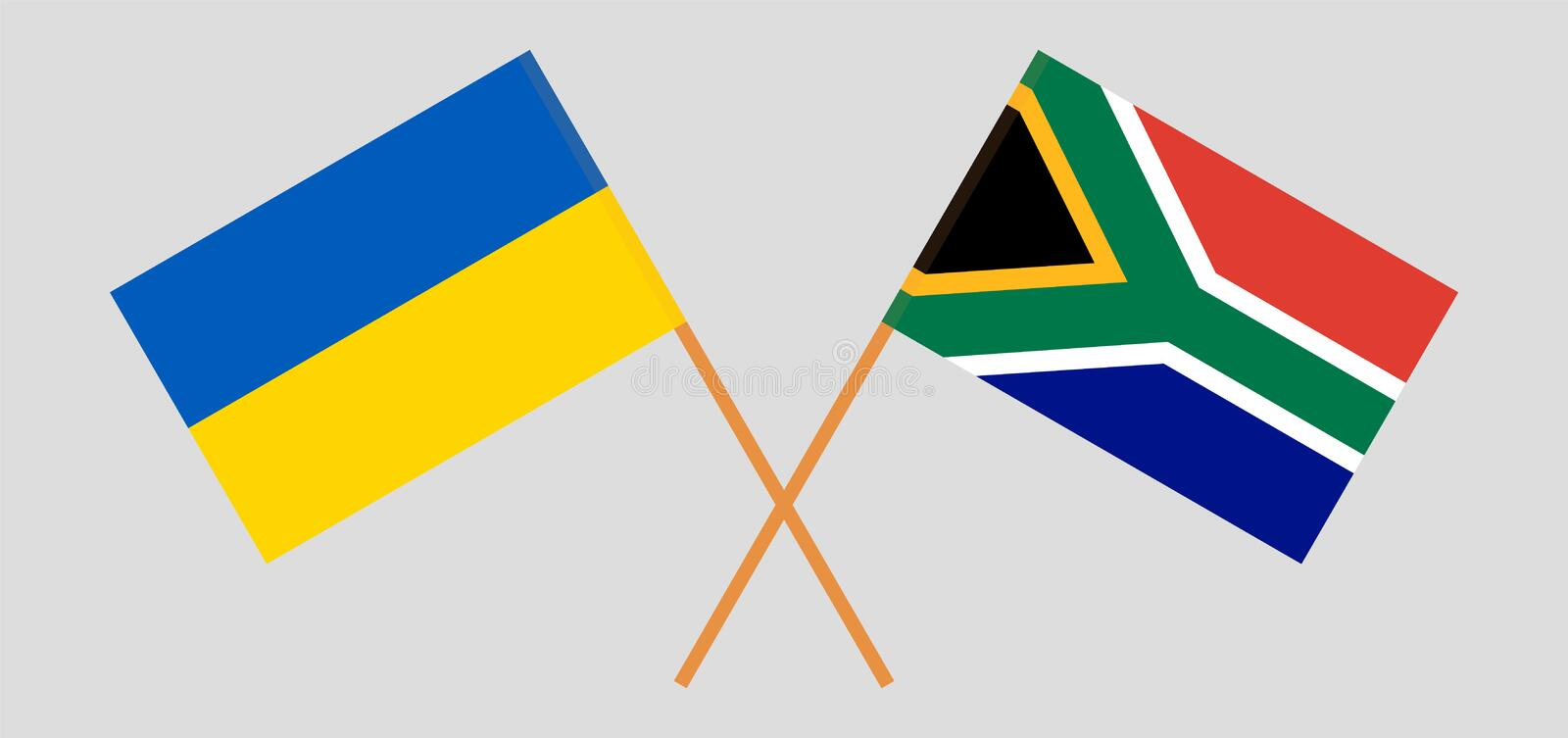 RSA and Ukraine. The South African and Ukrainian flags. Official colors. Correct proportion. Vector. Illustrationn royalty free illustration