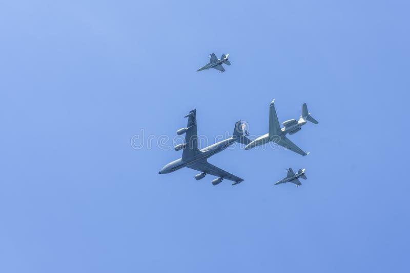 RSAF Airshow с различными самолетами стоковое фото rf