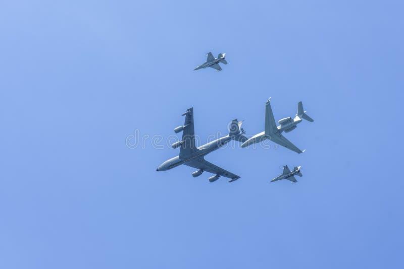 RSAF Airshow con i vari aerei fotografia stock libera da diritti