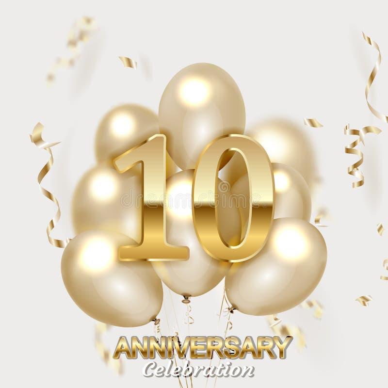 10 ?rsdagguldnummer med guld- konfettier vektor illustrationer