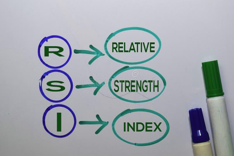 RSI - het relatieve acroniem van de Index van de Sterkte schrijft op kleverige nota's die op witte achtergrond worden geïsoleerd stock afbeelding