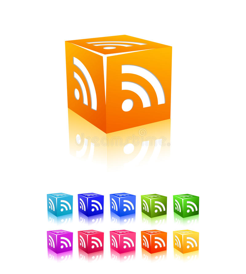 Download Rss Cube Icon Set Stock Photos - Image: 18180413