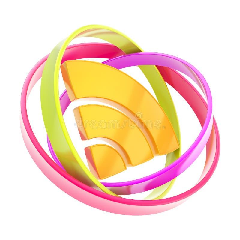 RSS del icono del emblema de la señal del wifi aislado en blanco libre illustration