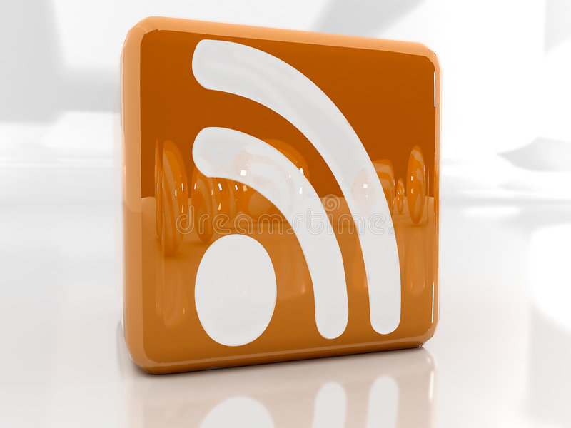 Rss icon. Feed or Rss icon, used in internet transmision and association with open web syndication formats such as RSS and Atom. 3D with reflect stock illustration