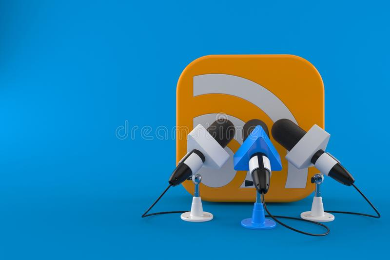 RSS icon with interview microphones. Isolated on blue background. 3d illustration stock illustration