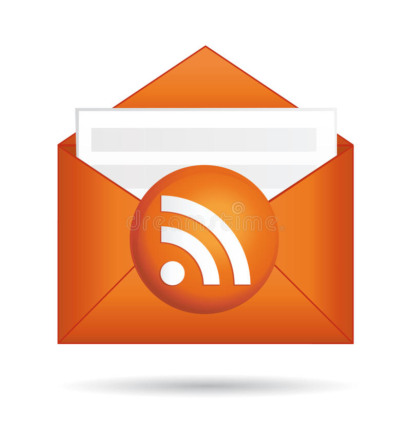 Rss icon orange folder. royalty free illustration