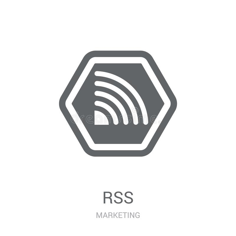 Rss icon. Trendy Rss logo concept on white background from Marketing collection. Suitable for use on web apps, mobile apps and print media stock illustration