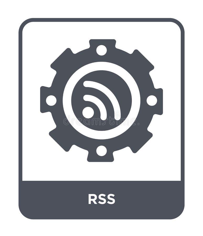 rss pictogram in in ontwerpstijl rss pictogram op witte achtergrond wordt geïsoleerd die rss vectorpictogram eenvoudig en modern  royalty-vrije illustratie
