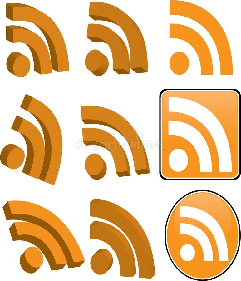 RSS pictogramreeks die op wit wordt geïsoleerde royalty-vrije stock fotografie