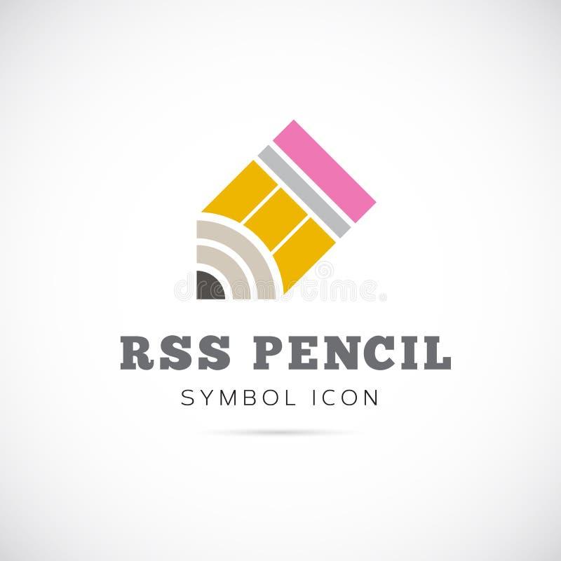 RSS pojęcia symbolu Ołówkowa Wektorowa ikona lub logo royalty ilustracja