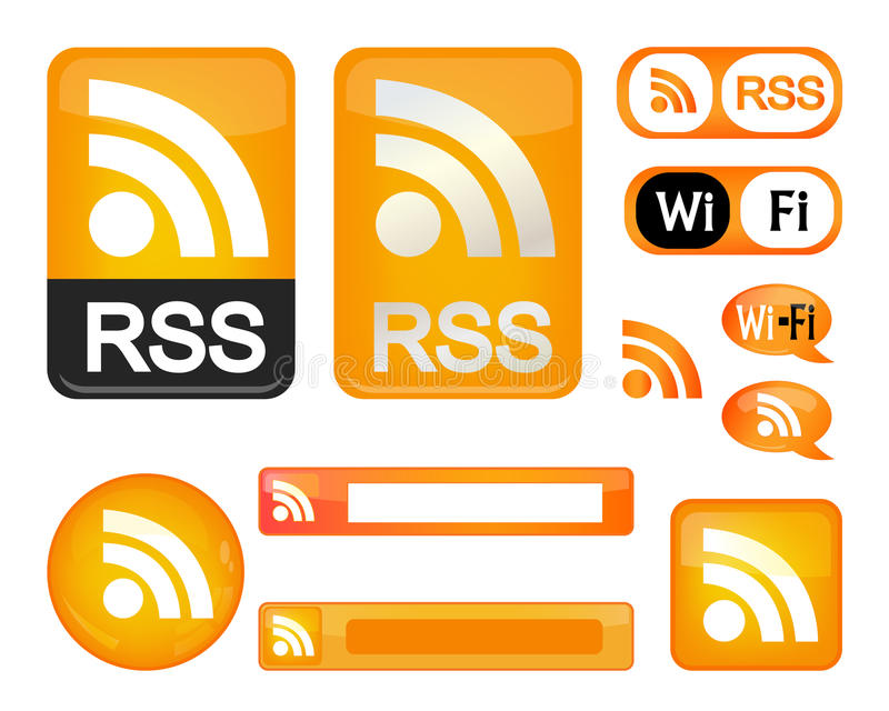Rss sign. Set of RSS & wi fi sign illustrations. An additional Vector .Eps file available. (you can use elements separately royalty free illustration
