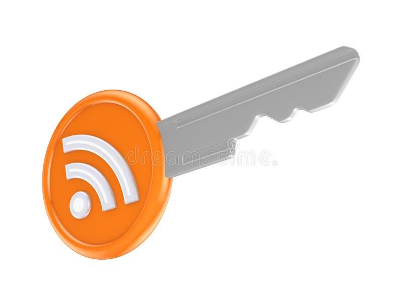 RSS-Symbol auf einer Taste. vektor abbildung