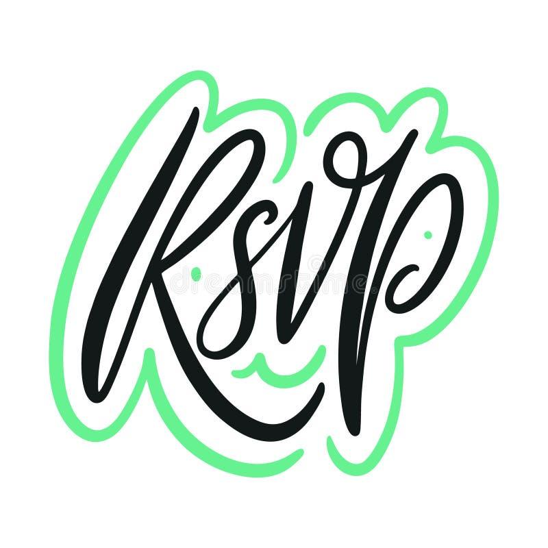 RSVP婚礼手拉的卡片词组 在标志上写字的传染媒介 r 库存例证