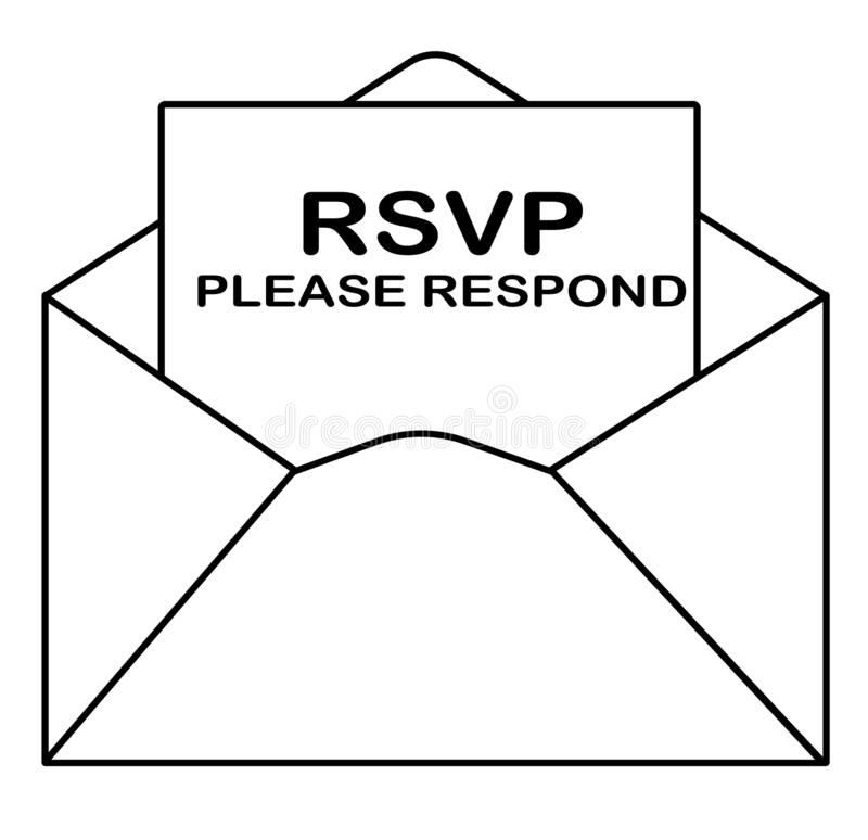 RSVP icon on white background. flat style. please respond letter in envelop icon for your web site design, logo, app, UI. answer stock photos