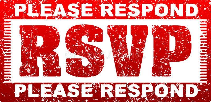 RSVP Please respond grunge style square rubber stamp. vector illustration