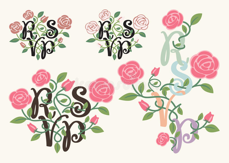 RSVP-typografie en bloemelement vector illustratie