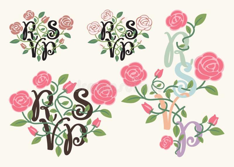 RSVP-typografie en bloemelement royalty-vrije illustratie