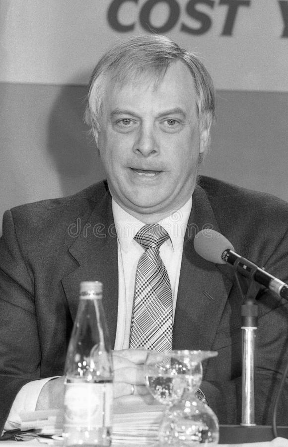 Rt.Hon. Christopher Patten. Christopher Patten, Chairman of the Conservative party and Member of Parliament for Bath, speaks at a press conference in London on stock photos