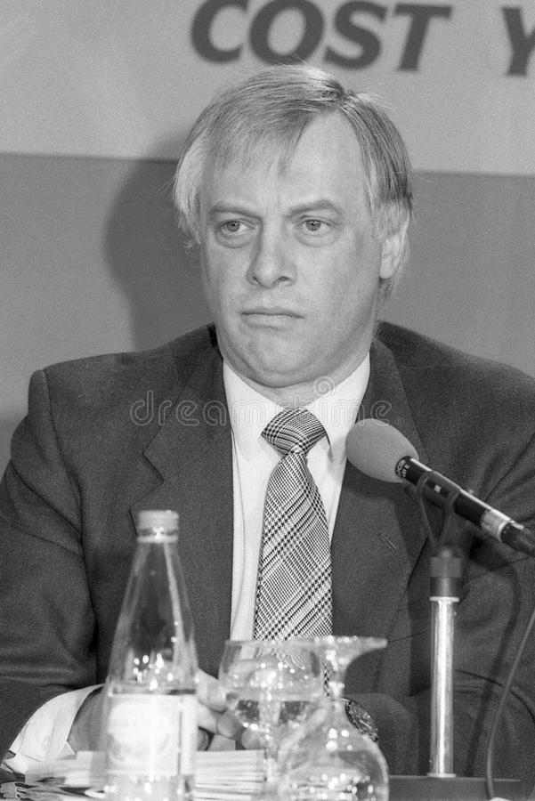 Rt.Hon. Christopher Patten. Christopher Patten, Chairman of the Conservative party and Member of Parliament for Bath, speaks at a press conference in London on stock photo