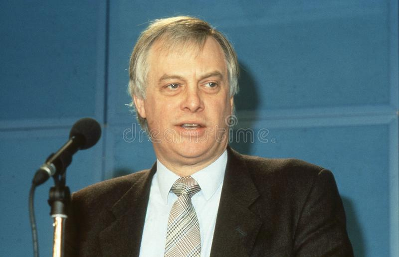 Rt.Hon. Christopher Patten. Chairman of the Conservative party, speaks at a press conference in London, England on April 10, 1991. In July 1992 he became the stock photo