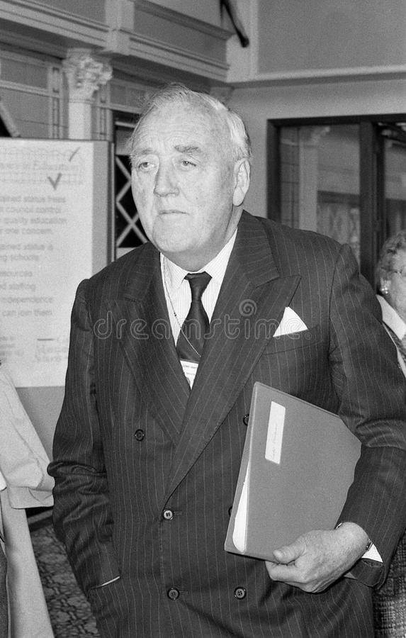 Rt.Hon. Lord William Whitelaw. Lord William Whitelaw, Conservative peer and former Deputy Prime Minister, attends the party conference in Blackpool, Lancashire royalty free stock image