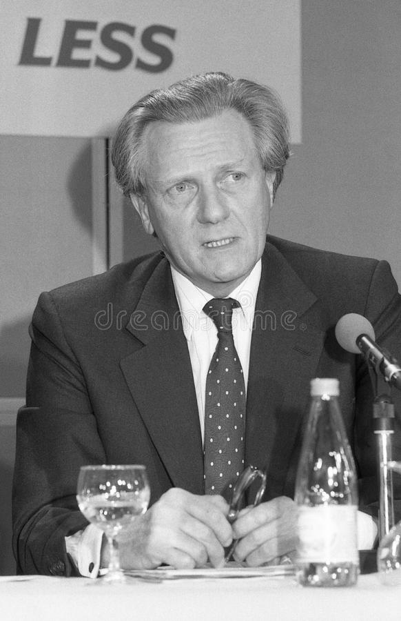 Rt.Hon. Michael Heseltine. Michael Heseltine, Secretary of State for The Environment and Conservative party Member of Parliament for Henley, speaks at a press royalty free stock photos