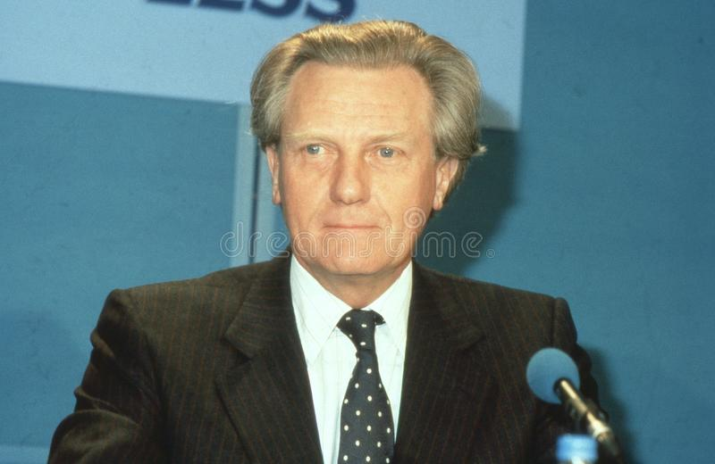 Rt.Hon. Michael Heseltine. Secretary of State for the Environment, attends a Conservative party press conference in London, England on April 10, 1991. In 1995 stock images
