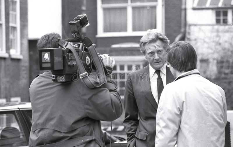 Rt.Hon. Michael Heseltine. Secretary of State for the Environment and Conservative party Member of Parliament for Henley, takes part in a television news stock photos