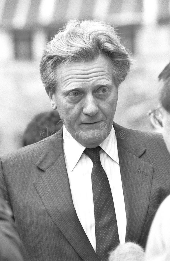 Rt.Hon. Michael Heseltine. Secretary of State for the Environment and Conservative party Member of Parliament for Henley, talks to a reporter in London royalty free stock images