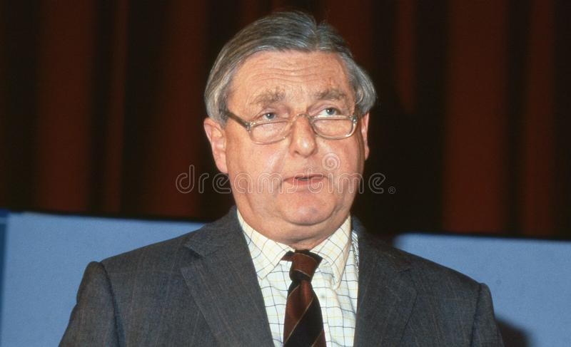 Rt.Hon. Sir Patrick Mayhew. Attorney General and Conservative party Member of Parliament for Tunbridge Wells, speaks at a party conference in London, England stock photography