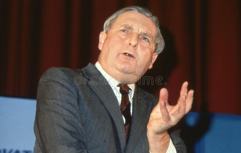 Rt.Hon. Sir Patrick Mayhew. Attorney General and Conservative party Member of Parliament for Tunbridge Wells, speaks at a party conference in London, England royalty free stock photography