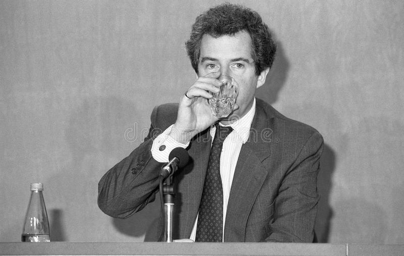 Rt.Hon. William Waldegrave. Secretary of State for Health and Conservative party Member of Parliament for Bristol West, drinks water during a press conference stock images