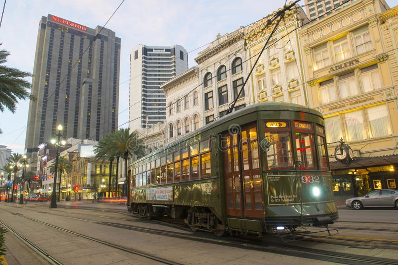 RTA Streetcar St. Charles Line in New Orleans. RTA antique Streetcar St. Charles Line Route 12 on Canal Street in morning twilight, New Orleans, Louisiana, USA stock photography