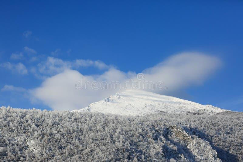 Rtanj金字塔山-在一个白茫茫山峰的雪 免版税库存图片