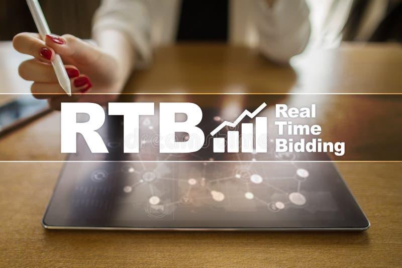 RTB - Real-time bidding on virtual screen, business concept. RTB - Real-time bidding on virtual screen, business concept royalty free stock images