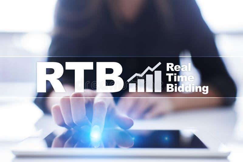 RTB - Real-time bidding on virtual screen, business concept. RTB - Real-time bidding on virtual screen, business concept royalty free stock image
