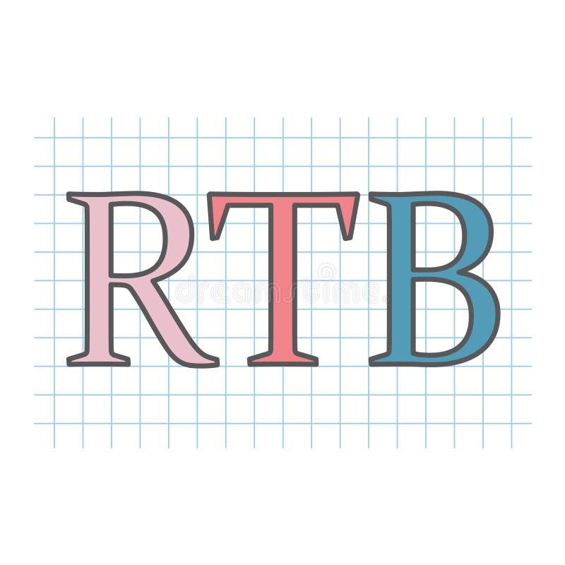 RTB Real-time bidding written on checkered paper sheet stock illustration