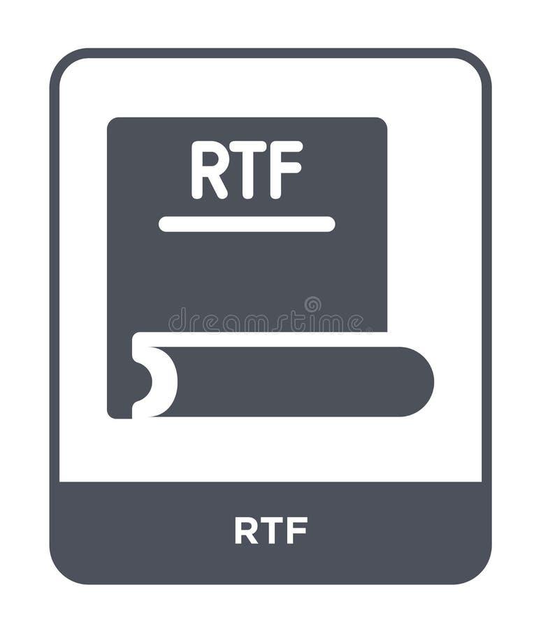 rtf-Ikone in der modischen Entwurfsart rtf-Ikone lokalisiert auf weißem Hintergrund einfaches und modernes flaches Symbol der rtf vektor abbildung