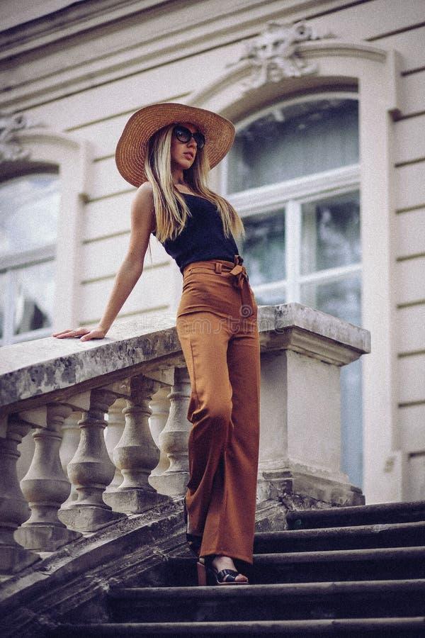 ruído Estilo do vintage Mulher elegante bonita no chapéu exterior Fá foto de stock royalty free