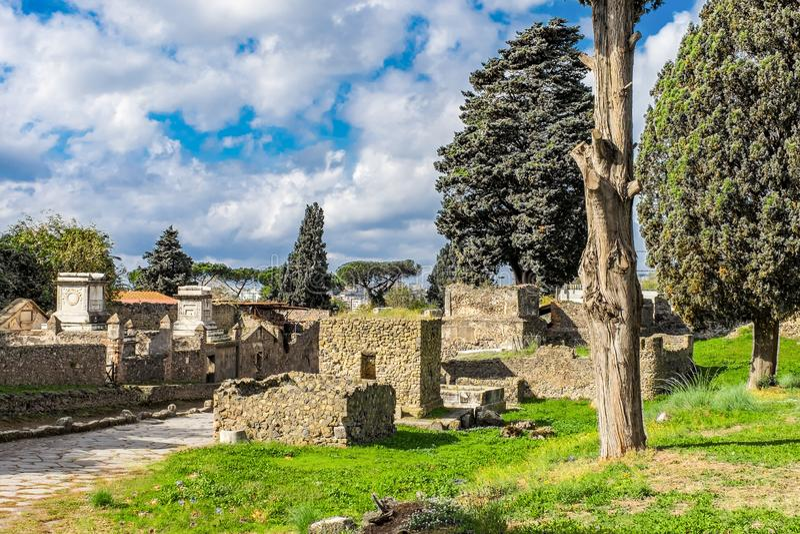 Ruína arqueológico da cidade romana antiga, Pompeii, região do Campania, Itália foto de stock royalty free