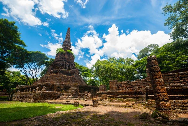 Ruína de Wat Nang Phaya, parque histórico de Satchanalai do si, Sukhothai, Tailândia fotografia de stock royalty free