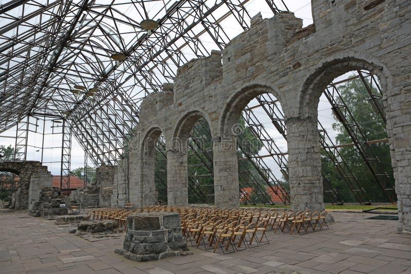Ruína em Hamar - Domkirkeodden foto de stock royalty free