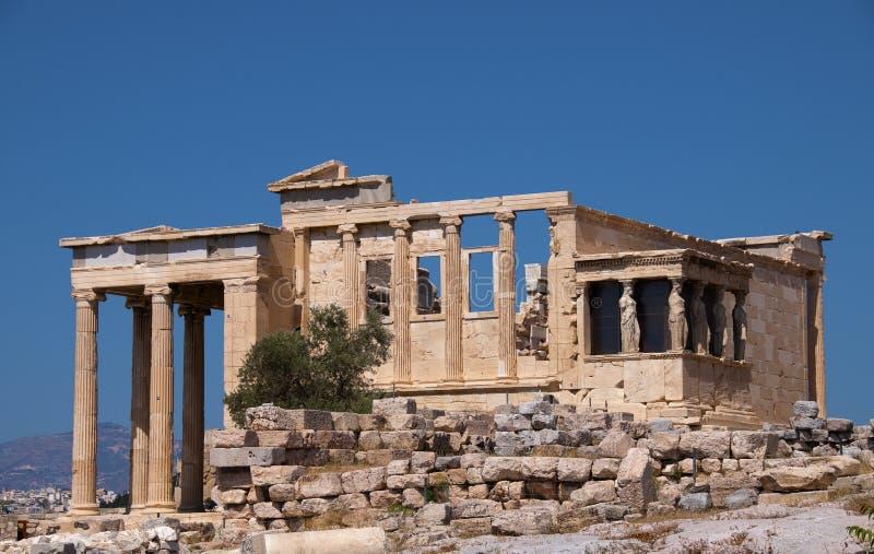 Ruína grega no acropolis fotografia de stock
